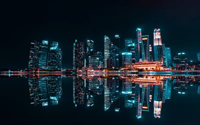 Shanghai, 4k, night city, Huangpu River, nightscapes, skyscrapers, China, Asia