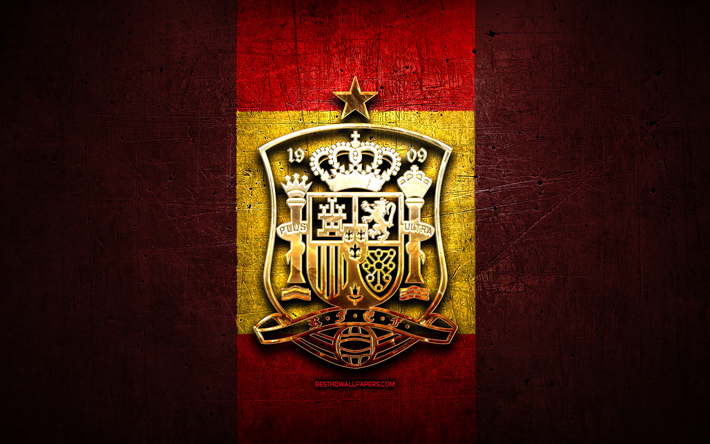Spain National Football Team, golden logo, Europe, UEFA, red metal background, Spanish football team, soccer, RSFF logo, football, Spain
