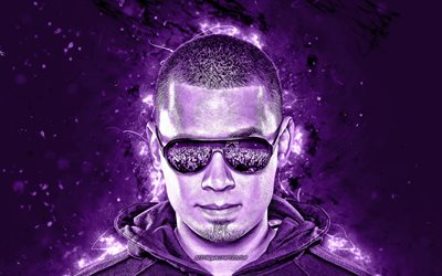 4k, Afrojack, violet neon lights, superstars, Dutch DJs, Nick van de Wall, music stars, fan art, Afrojack 4K