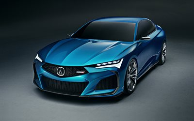 Acura Type S Concept, 2019, 4k, exterior, front view, blue sedan, new blue Type S, japanese cars, Acura