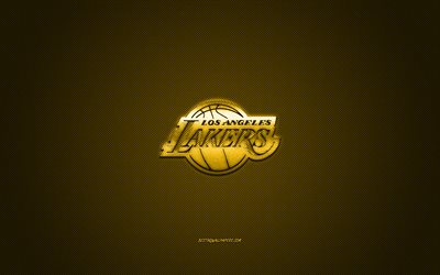 Los Angeles Lakers, American basketball club, NBA, yellow logo, yellow carbon fiber background, basketball, Los Angeles, California, USA, National Basketball Association, Los Angeles Lakers logo
