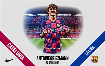 Antoine Griezmann, FC Barcelona, Nou Camp, French footballer, striker, La Liga, Catalonia, portrait, football stars, Spain, football