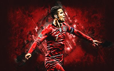 Cristiano Ronaldo, Portuguese footballer, Portugal national football team, portrait, CR7, red stone background, soccer, Portugal
