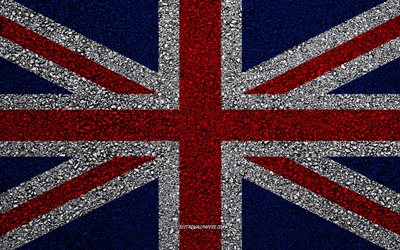 Flag of United Kingdom, asphalt texture, Flag of the Great Britain, flag on asphalt, United Kingdom flag, Europe, United Kingdom, flags of european countries, Great Britain flag