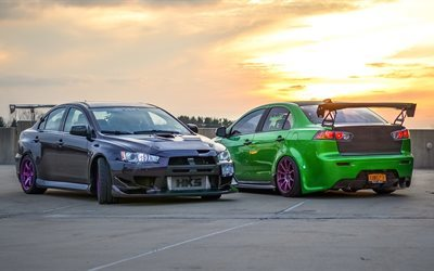 2016 Lancer Evolution >> Download wallpapers Mitsubishi Lancer, Evolution, green Lancer, gray Lancer, purple wheels ...