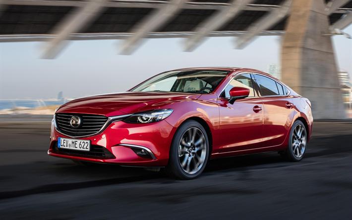 Herunterladen Hintergrundbild Mazda 6 2017 Luxus Limousine Rot