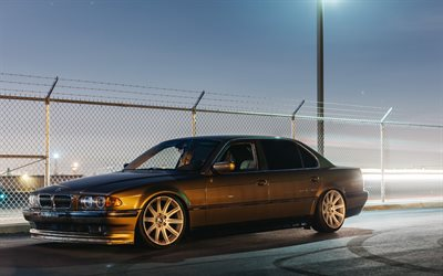 BMW 7-series, tuning, stance, e38, night, BMW