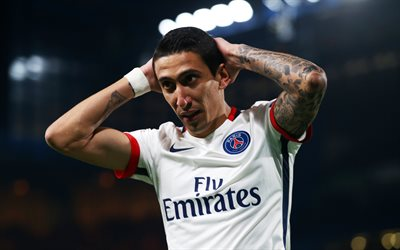 angel di maria, 4k, footballers, psg, fußball, ligue 1, paris saint-germain, fußball-stars