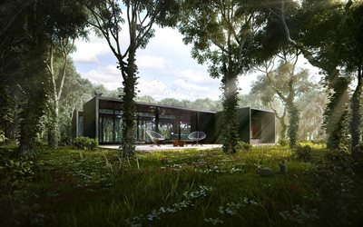 Download Wallpapers House In The Forest Exterior Modern