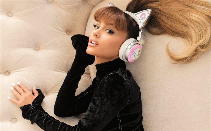 Ariana Grande, Hollywood, 2018, superstars, headphones, american singer, photoshoot, beauty