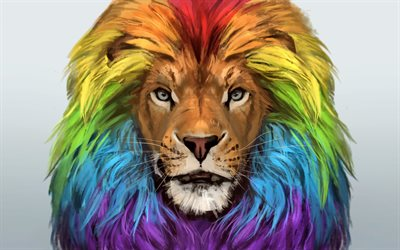 lion, art, muzzle, rainbow, colorful portrait, colorful lion