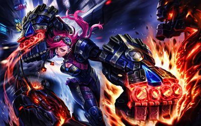 VI, 4k, battle, MOBA, League of Legends, artwork, Legends of Runeterra, VI League of Legends