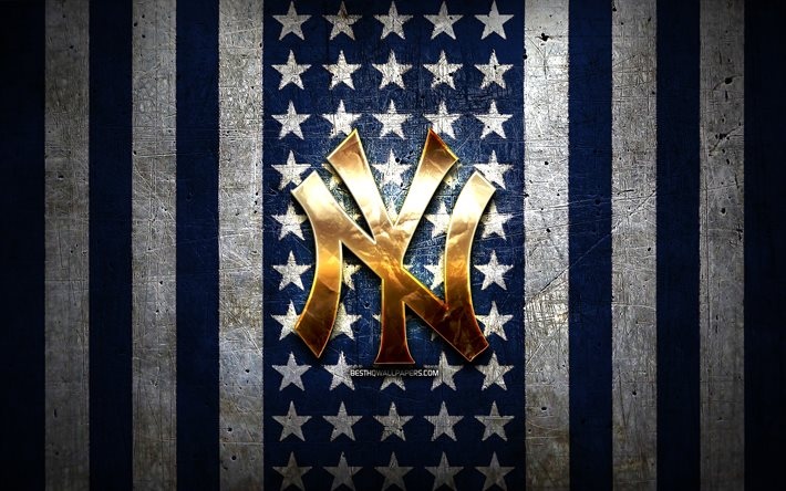New York Yankees flag, MLB, blue white metal background, american baseball team, New York Yankees logo, USA, baseball, New York Yankees, golden logo, NY Yankees