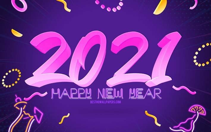 2021 New Year, purple party background, Happy New Year 2021, 2021 party background, 2021 concepts, 2021 purple background