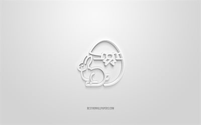 Easter 3d icon, white background, 3d symbols, Easter, creative 3d art, 3d icons, Easter sign, Easter 3d icons