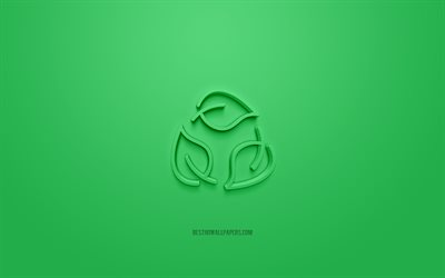 Green leaves 3d icon, green background, 3d symbols, Green leaves, creative 3d art, 3d icons, Ecology sign, Ecology 3d icons