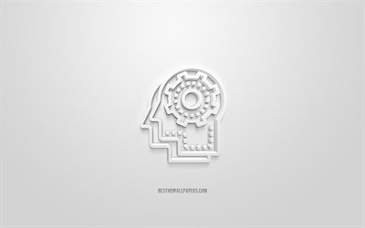Brain with gears 3d icon, white background, 3d symbols, Education, creative 3d art, 3d icons, Education sign, Education 3d icons, gears 3d icon
