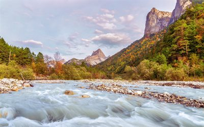 Alps, 4K, mountains, river, beautiful nature, autumn, France, Europe