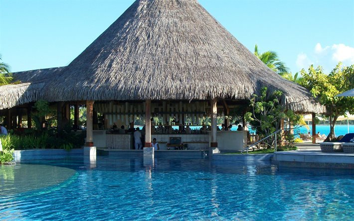 tropical island, hotel, swimming pool, bungalows, bar, travel
