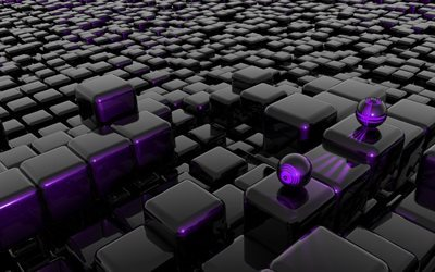 3d cubes, black cubes, purple cubes