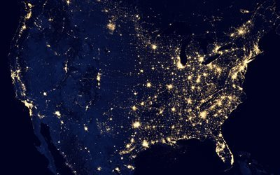 space, North America, night, America from space, USA