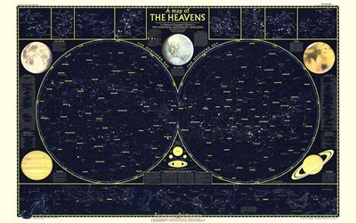 star map, sky map, map of the constellations, map of the heavens