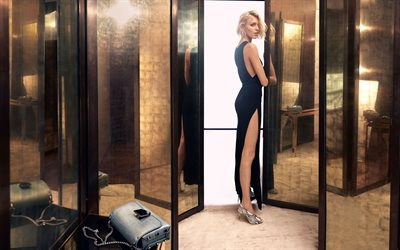 Anja Rubik, Polish top model, photoshoot, black evening dress, blondes