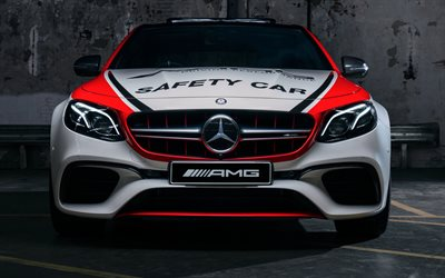4k, Mercedes-AMG E63 S 4MATIC, 2018 cars, safety car, front view, Mercedes