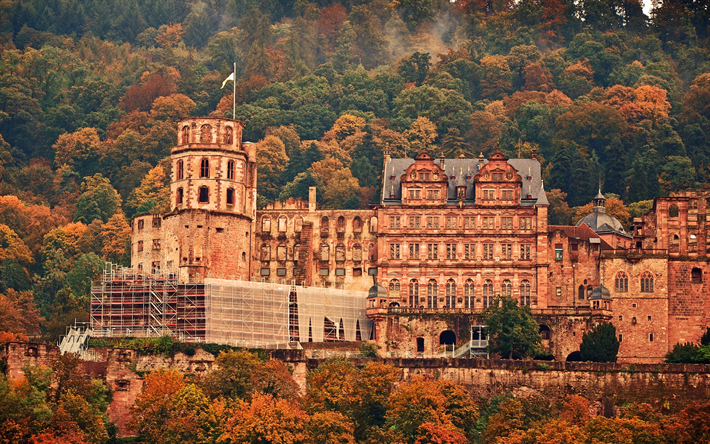 Heidelberg Castle, mountains, autumn, Germany, old castle, reconstruction, Heidelberg