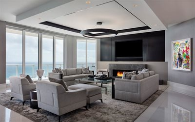 living room, modern interior design, large TV, fireplace, cozy interior