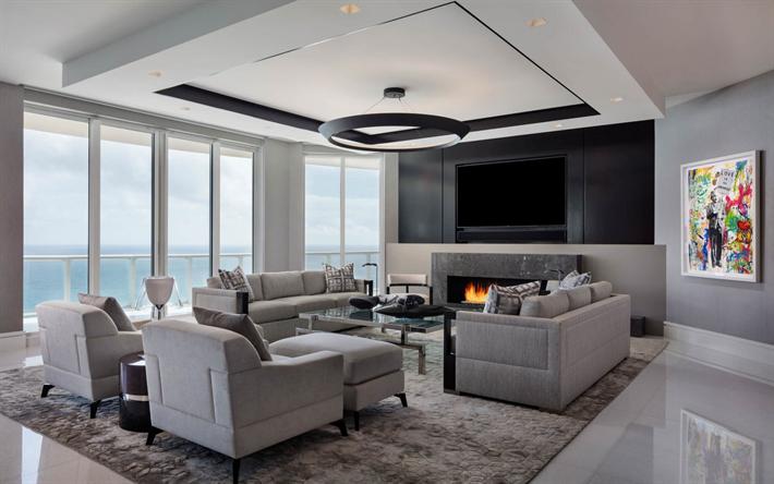 Wohnzimmer Moderne Interieur Design, Großer Tv, Kamin, Gemütliche  Inneneinrichtung