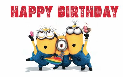Happy Birthday, 4k, Bob, Stewart, Kevin, Despicable Me 3, Minions