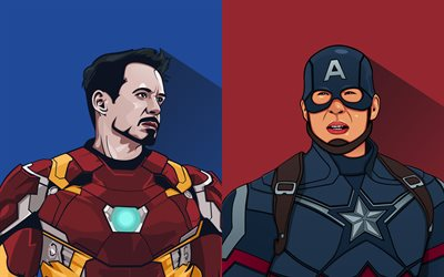 Captain America, Iron Man, 4k, superheroes, minimal, IronMan