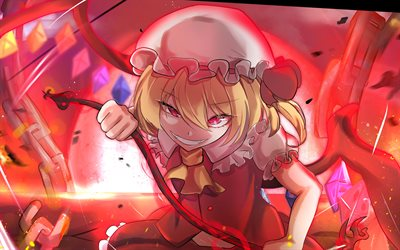 4k, Flandre Scarlet, girl with red eyes, Touhou characters, manga, artwork, Touhou