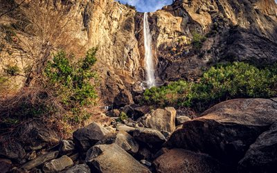 mountain waterfall, rocks, sunset, canyon, waterfalls, USA, Yosemite National Park
