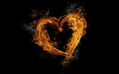 fiery heart, black background, fire, flame, flaming heart