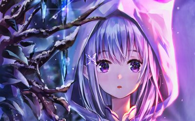 Emilia, portrait, Re Zero, girl with violet hair, Re Zero characters, manga, Re Zero kara Hajimeru Isekai Seikatsu