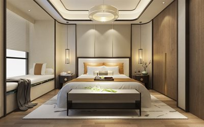 stylish bedroom interior, modern interior design, bedroom, modern interior style, round chandelier