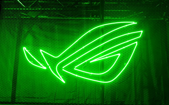 Download Wallpapers 4k Rog Green Logo 3d Art Republic Of Gamers Metal Grid Background Rog Neon Logo Asus Creative Rog For Desktop Free Pictures For Desktop Free