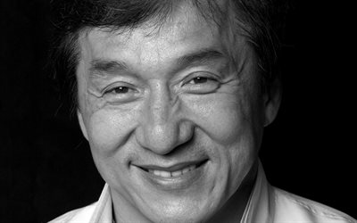 Jackie Chan, hong kong actor, portrait, photoshoot, monochrome