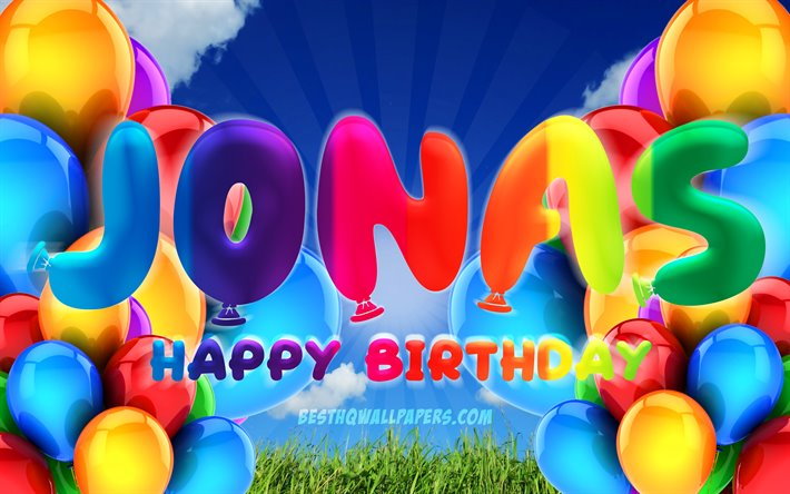Jonas Happy Birthday, 4k, cloudy sky background, popular german male names, Birthday Party, colorful ballons, Jonas name, Happy Birthday Jonas, Birthday concept, Jonas Birthday, Jonas