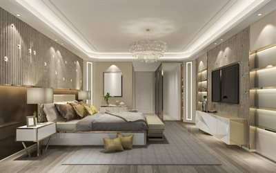 hotel room interior design, luxury hotel apartments, modern interior design, classic style, luxury chandelier