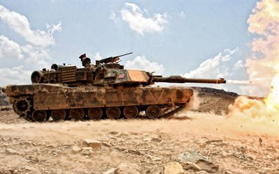 M1 Abrams, M1A1, US main battle tank, desert, sand camouflage, US Army, USA, modern tanks