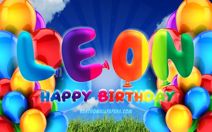 Leon Happy Birthday, 4k, cloudy sky background, popular german male names, Birthday Party, colorful ballons, Leon name, Happy Birthday Leon, Birthday concept, Leon Birthday, Leon