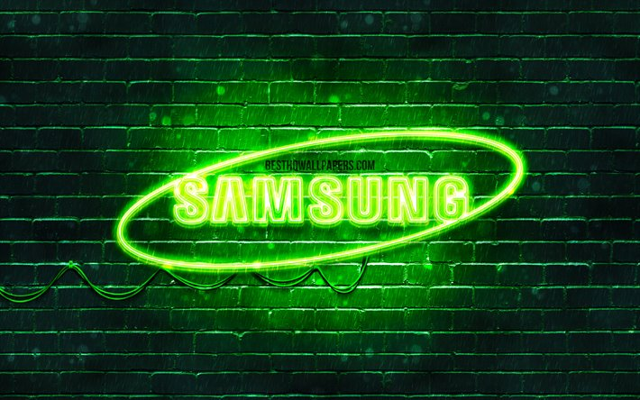 Download Wallpapers Samsung Green Logo 4k Green Brickwall Samsung Logo Brands Samsung Neon Logo Samsung For Desktop Free Pictures For Desktop Free