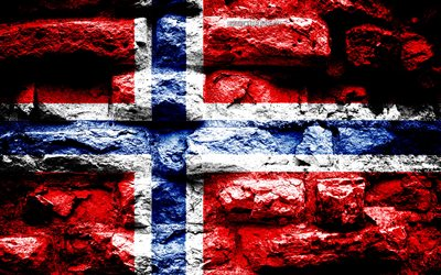 Norway flag, grunge brick texture, Flag of Norway, flag on brick wall, Norway, Europe, flags of european countries