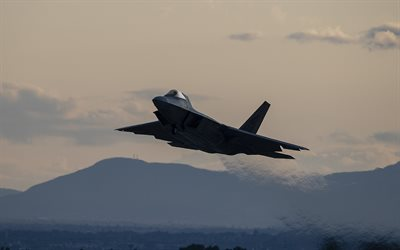 Boeing F-22 Raptor, american fighter, sunset, evening, F-22, military aircraft, US Air Force, USA