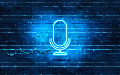 Studio microphone neon icon, 4k, blue background, neon symbols, Studio microphone, creative, neon icons, Studio microphone sign, music signs, Studio microphone icon, music icons