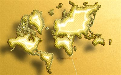 4k, Yellow Realistic Balloons world map, yellow stone background, 3D maps, World Map Concept, creative, Yellow balloons, 3D world map, Yellow World Map, World Map