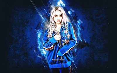 Billie Eilish, american singer, portrait, blue stone background, creative art